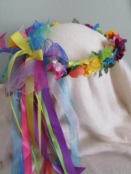 Floral Rainbow Crown-Silk Flowers/Yellow Bow/Child sz/Renaissance/Flower girl/
