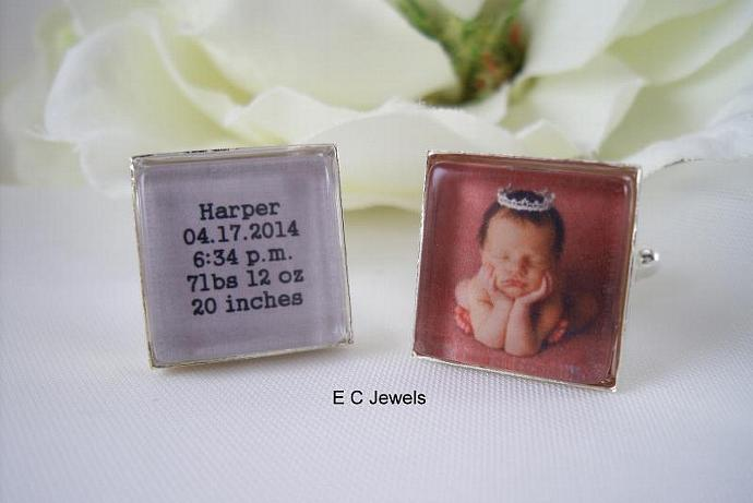 New Baby, Baby Stat's Photo Cufflinks