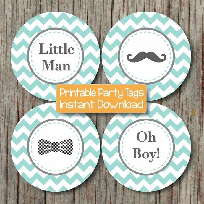 little man bow tie mustache baby shower oh boy cupcake toppers