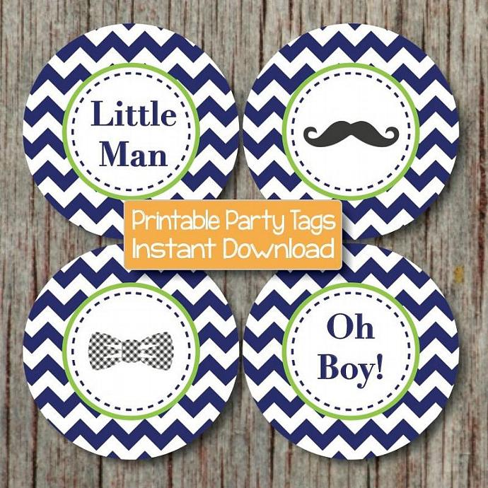 baby shower cupcake toppers mustache bash printable bow tie oh boy