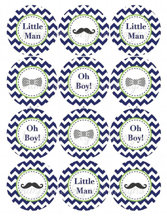 little man baby shower cupcake toppers mustache bash printable bow tie