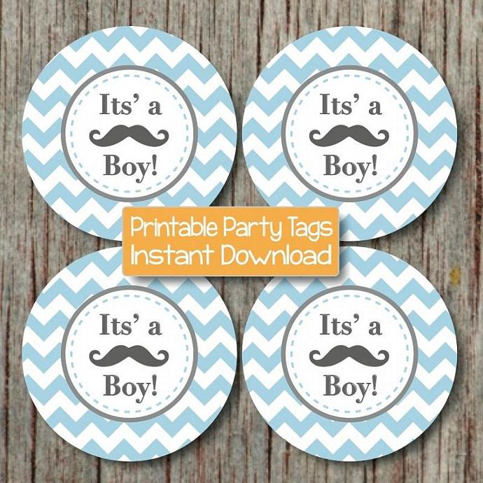 mustache bash baby shower its a boy little man cupcake toppers