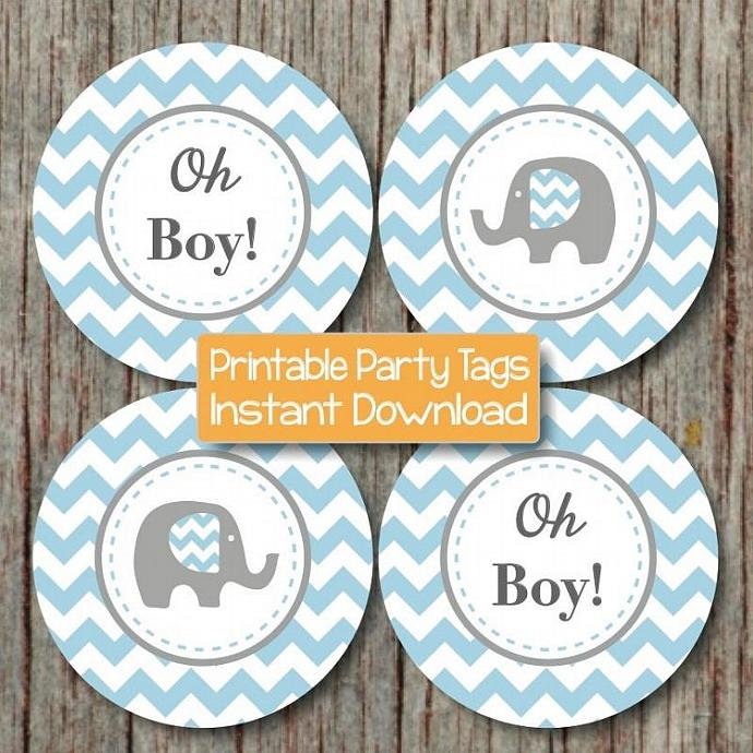 Baby Shower Decorations Elephant Cupcake Toppers Baby Shower Favor Tags