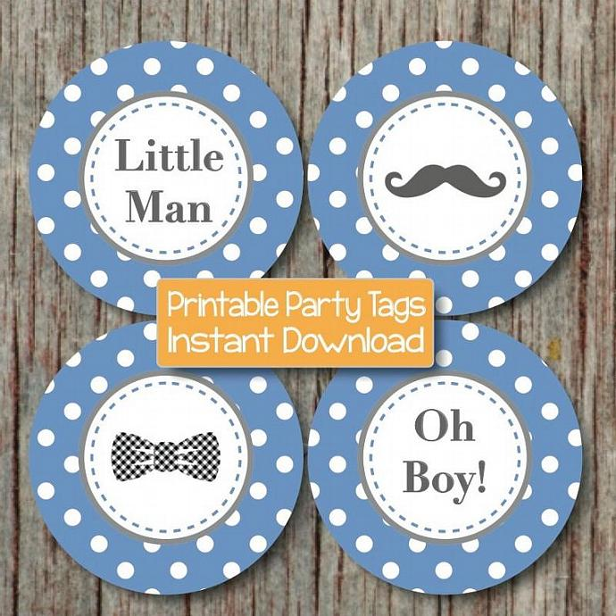 Little Man Baby Shower Decorations Mustache Cupcake Toppers Printable Bow  Tie Oh