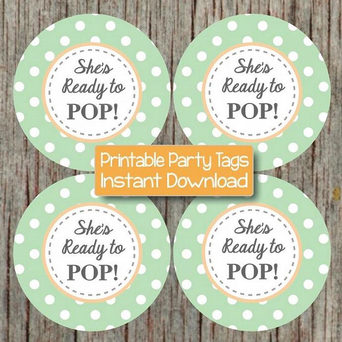 shes ready to pop sticker printable baby shower cupcake toppers favor