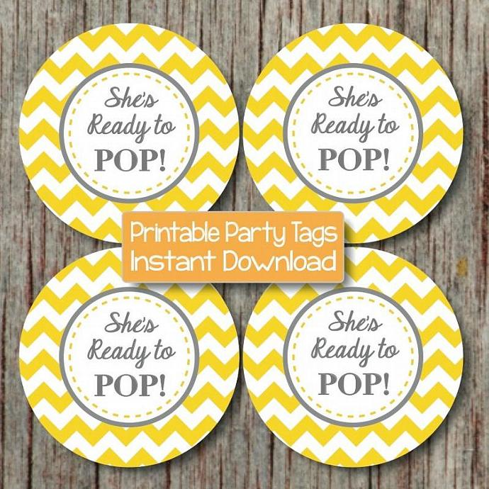 Yellow grey baby shower cupcake bumpandbeyonddesigns for Ready to pop stickers template