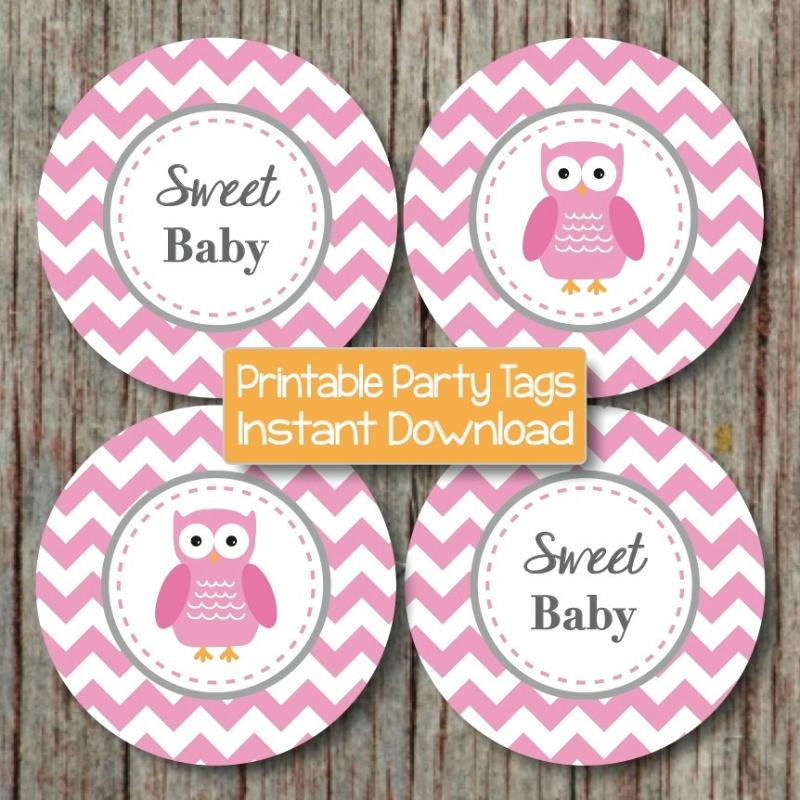 baby shower owl cupcake toppers gum bumpandbeyonddesigns