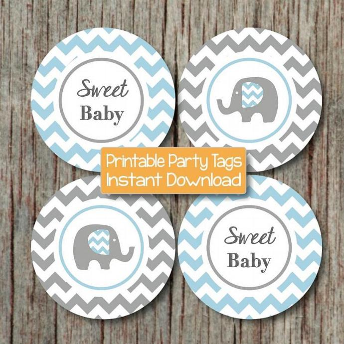 elephant baby shower decorations cupcake toppers stickers digital
