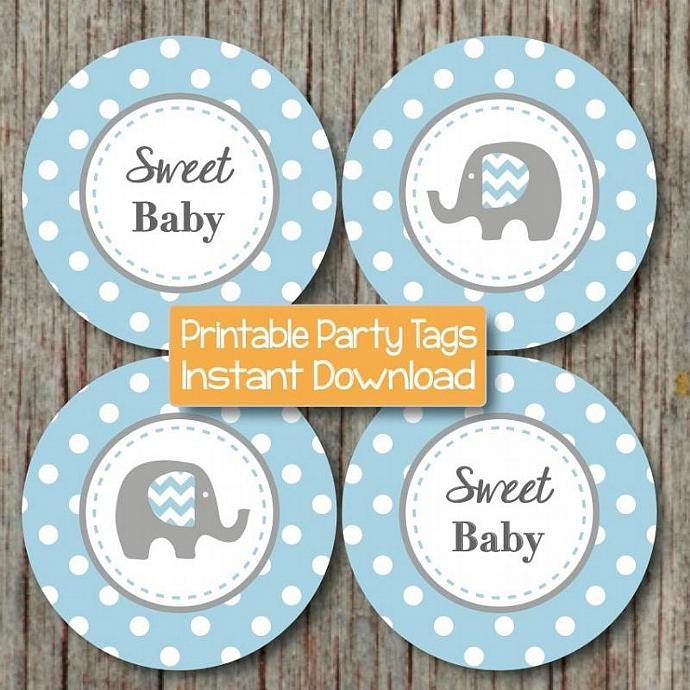 baby shower decorations elephant cupcake toppers digital powder blue