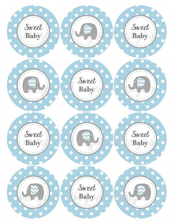 Baby Shower Decorations Elephant Cupcake Toppers Digital Powder Blue ...