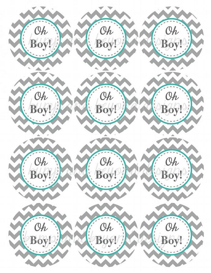 Oh Boy Printable Baby Shower Cupcake Bumpandbeyonddesigns