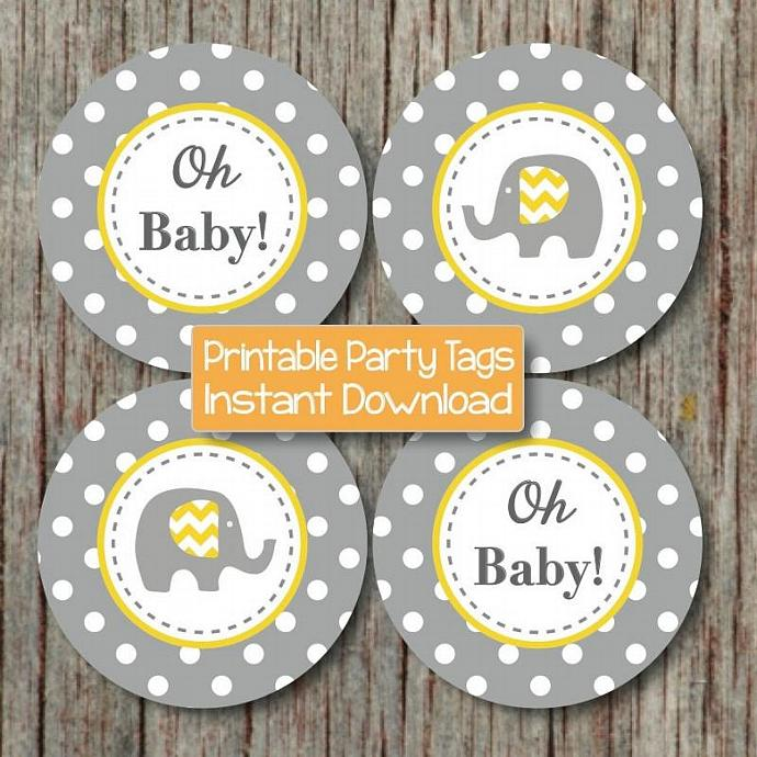 elephant cupcake toppers yellow grey baby shower favor tags printable