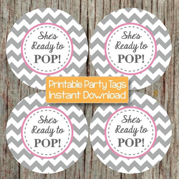 printable she 39 s ready to pop gum pink grey chevron girl baby shower