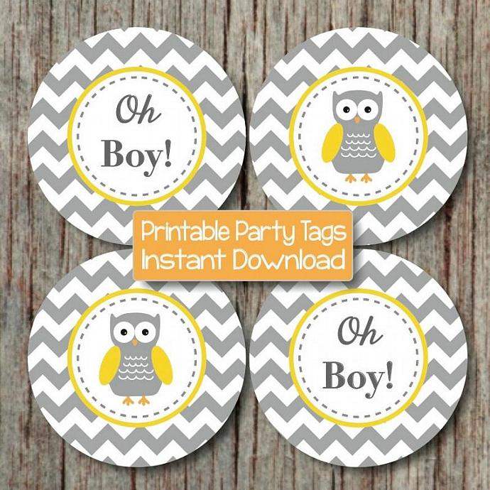 Yellow grey chevron owl baby shower by bumpandbeyonddesigns on zibbet - Baby shower chevron decorations ...