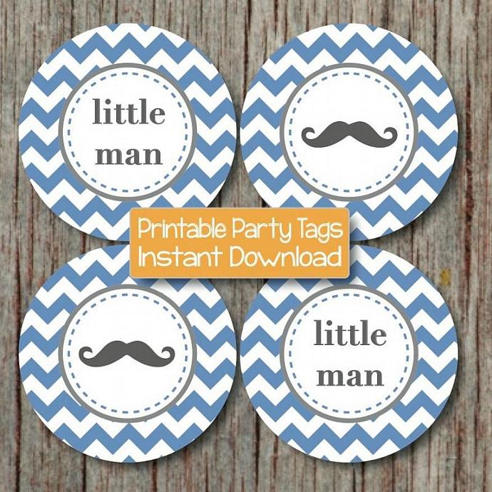 little man baby shower mustache cupcake toppers printable little man