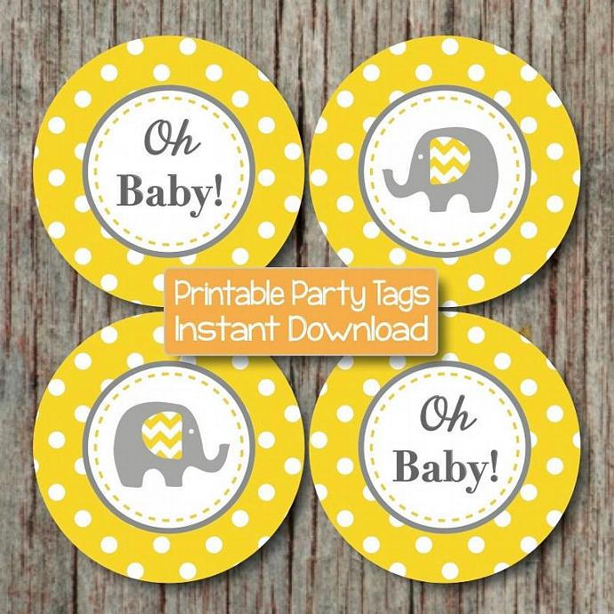 yellow grey baby shower decorations elephant cupcake toppers favor