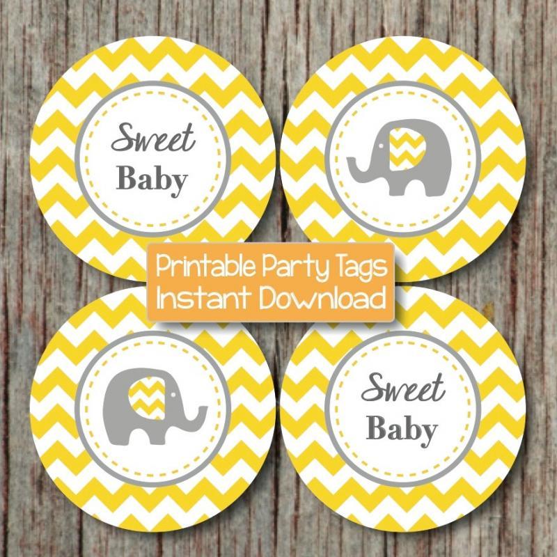 Yellow Grey Baby Shower Elephant Bumpandbeyonddesigns