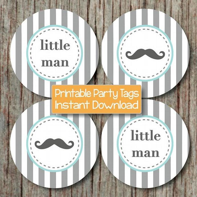 mustache little man baby shower printable party cupcake toppers tags
