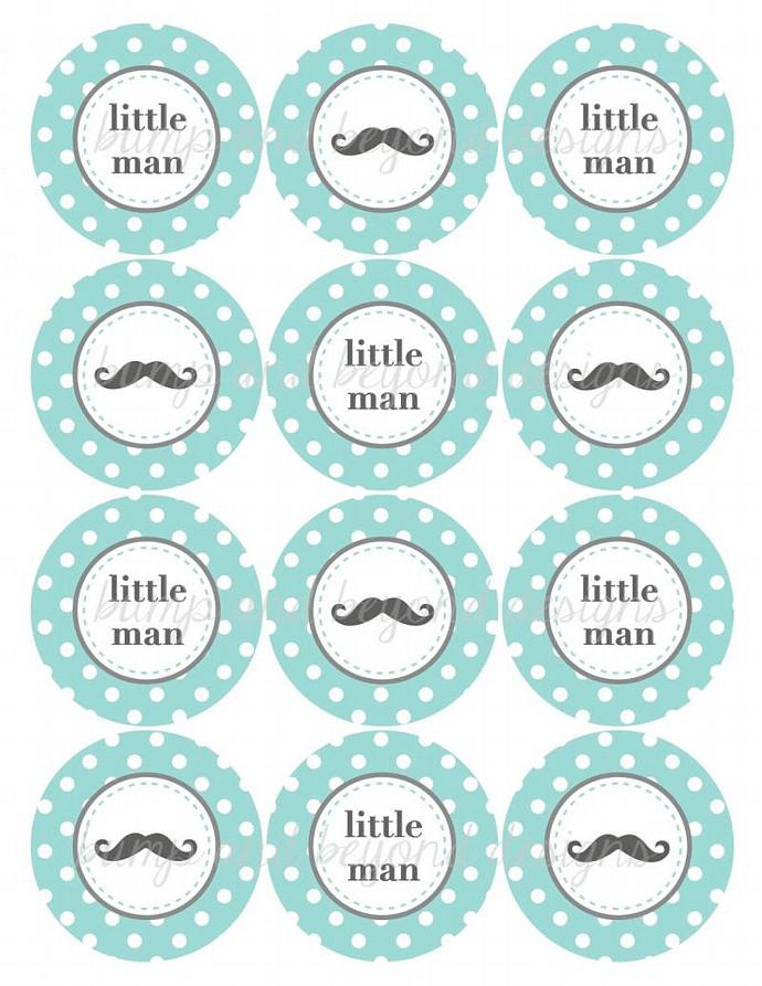 mustache party printables little man baby shower cupcake toppers light