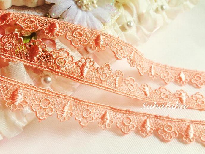 "3 yd CORAL PEACH Venise Edging Lace 5/8"" inch for scrapbooking, crafts,"