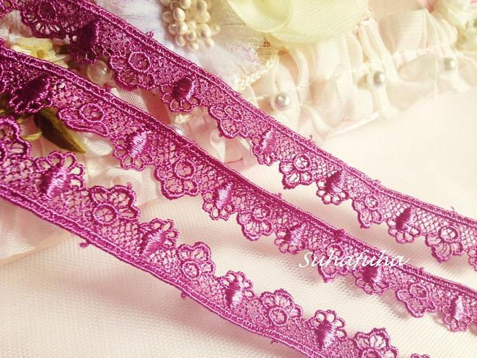 "3 yards ORCHID PURPLE Venise Edging Lace 5/8"" inch for scrapbooking, crafts,"