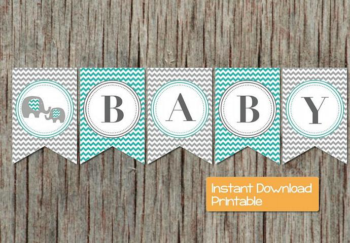 Baby shower banner elephant aqua grey by bumpandbeyonddesigns on zibbet - Baby shower chevron decorations ...
