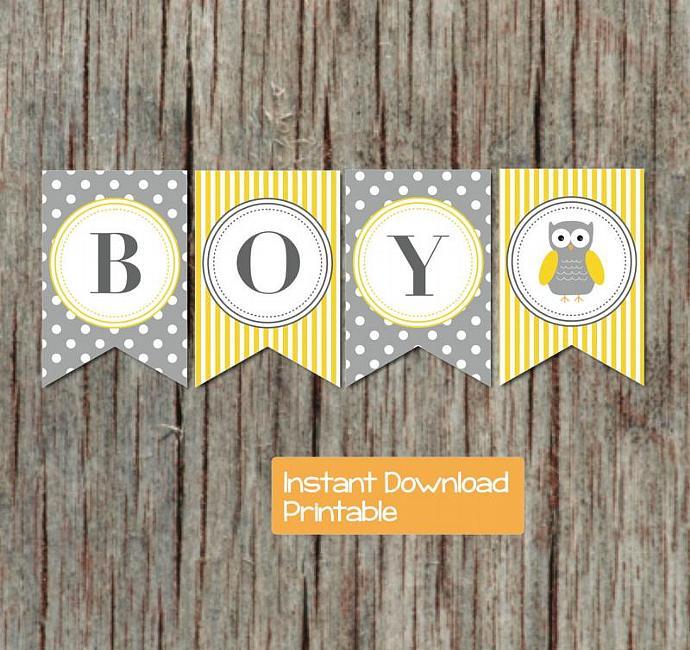 Yellow Grey Baby Shower Banner Owl By Bumpandbeyonddesigns