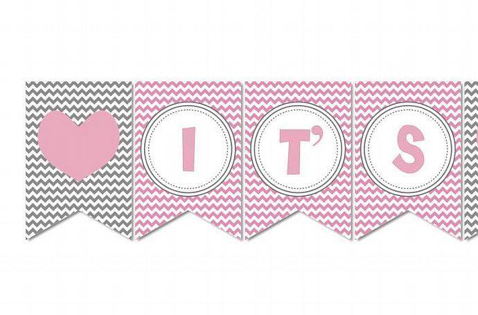 Digital Girl Baby Shower Banner Gum   bumpandbeyonddesigns