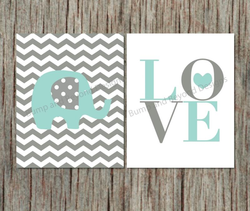 Elephant Wall Art Nursery Decor Bumpandbeyonddesigns