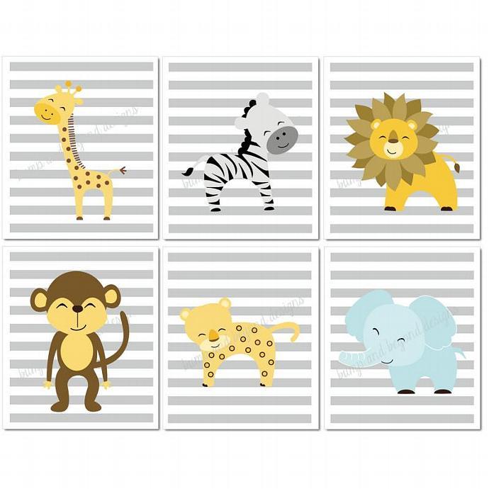 Jungle Nursery Wall Art Giraffe Lion By