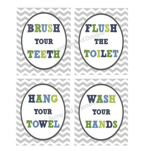 Kids BATHROOM WALL ART Digital Printable Wash your hands Brush your teeth Hang. Kids BATHROOM WALL ART Digital   bumpandbeyonddesigns