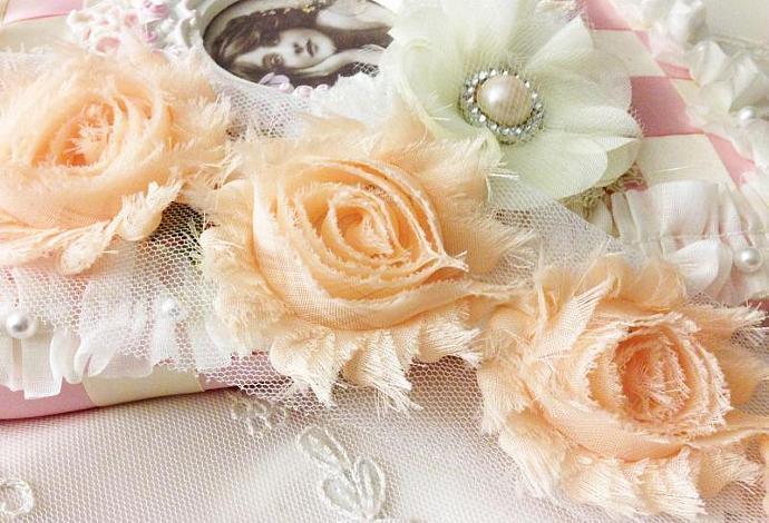 1 yd DUSTY PEACH Shabby Chiffon Frayed Rose Flower Trim for DIY Headbands,