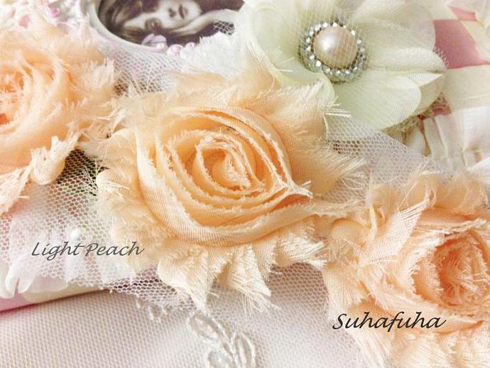 1/2 yd DUSTY PEACH Shabby Chiffon Frayed Rose Flower Trim for DIY Headbands,