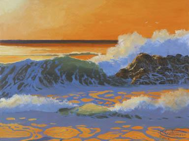 """Hot August Sea"" Giclee Paper Sunset Print by Carol Thompson"