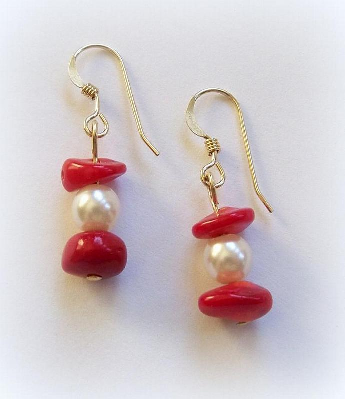 Pearl and Coral Earrings