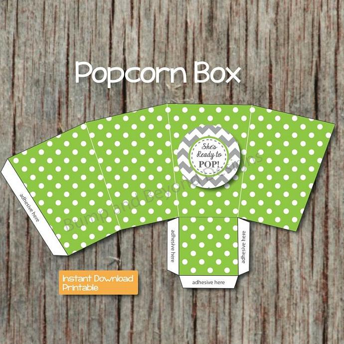 Printable Popcorn Box Digital Shes