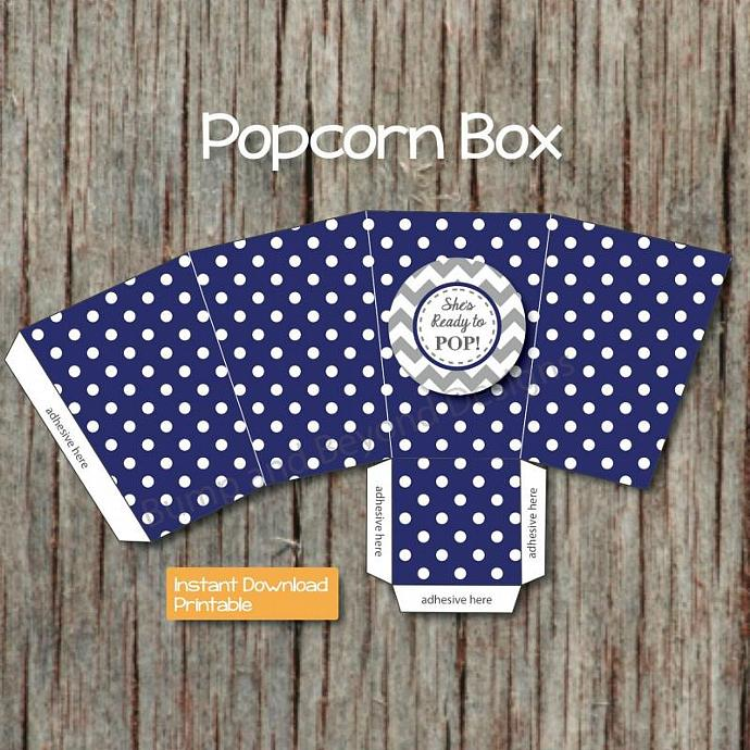 shes ready to pop popcorn boxes baby shower printable diy favors navy