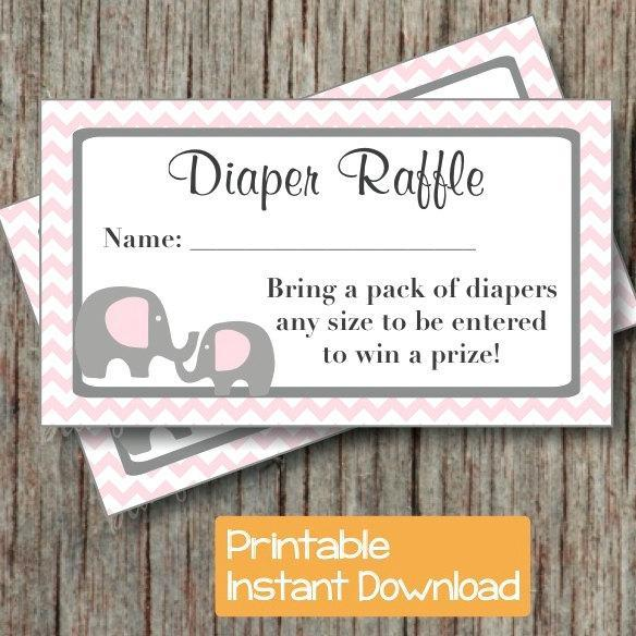 Baby Shower Diaper Raffle Ticket Printable Baby Shower Party Powder Pink  Grey