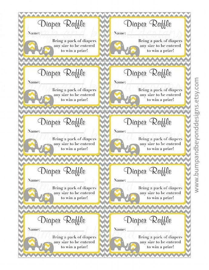 yellow grey baby shower diaper raffle