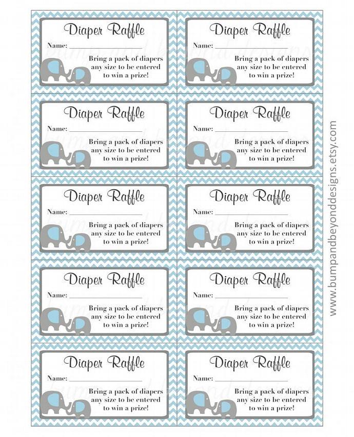 Elephant Diaper Raffle Tickets Bumpandbeyonddesigns