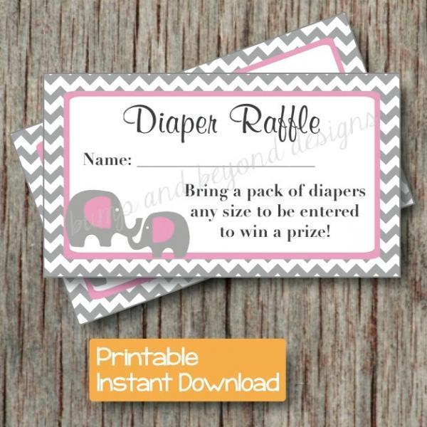 diaper raffle tickets baby shower gum pink grey chevron elephant