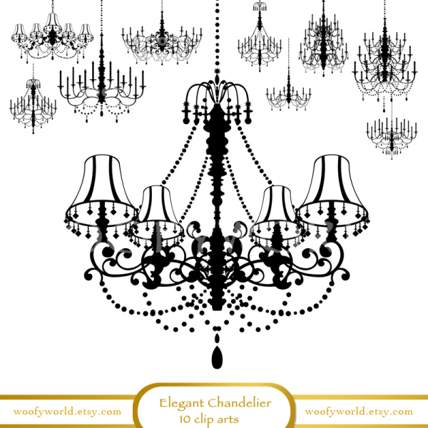 Elegant Chandelier CLIP ART for SCRAPBOOKING by woofyworld on Zibbet