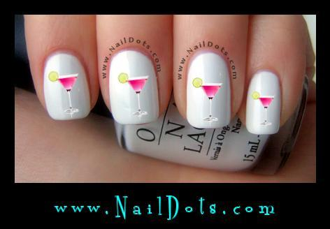 Pink Martini Glass Nail Decals