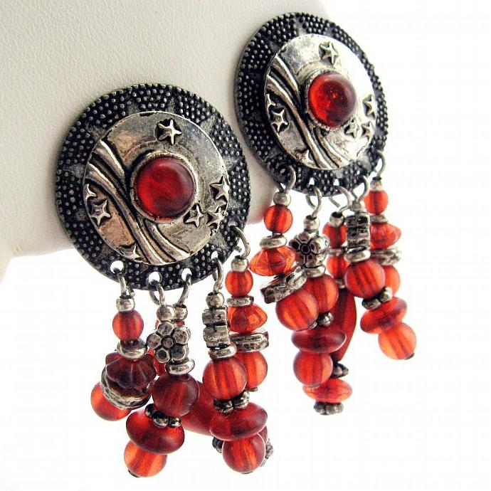 Vintage Boho Southwestern Deep Red Silver Medallion Dangle Earrings - Clip