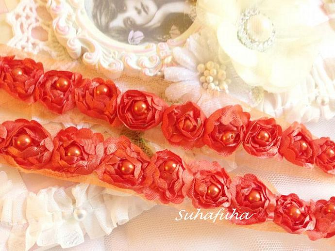 Satin Rosette Trim in BURNT ORANGE with Hand Sewn Matching Pearl Beads- 1 yard