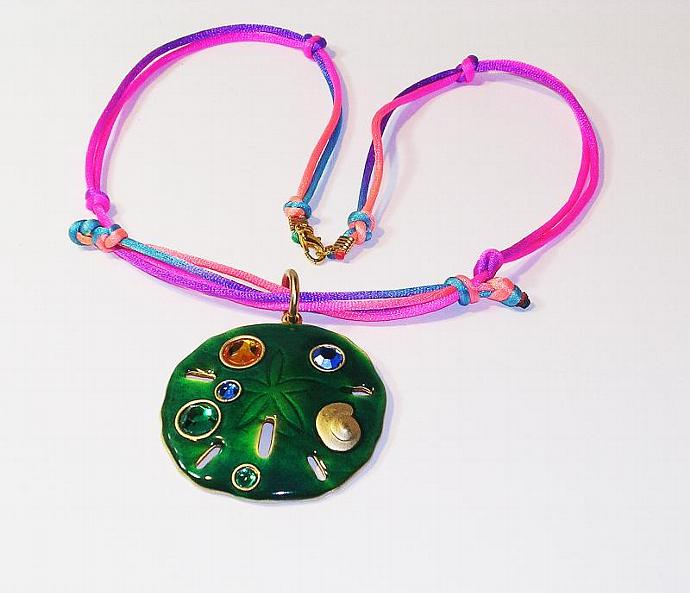 Pendant Necklace, Green Enamel, Pink and Blue Silk, Macrame Cord Necklace, Boho