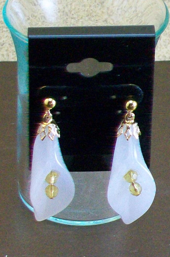 White Jade Serpentine Cala Lily Earrings