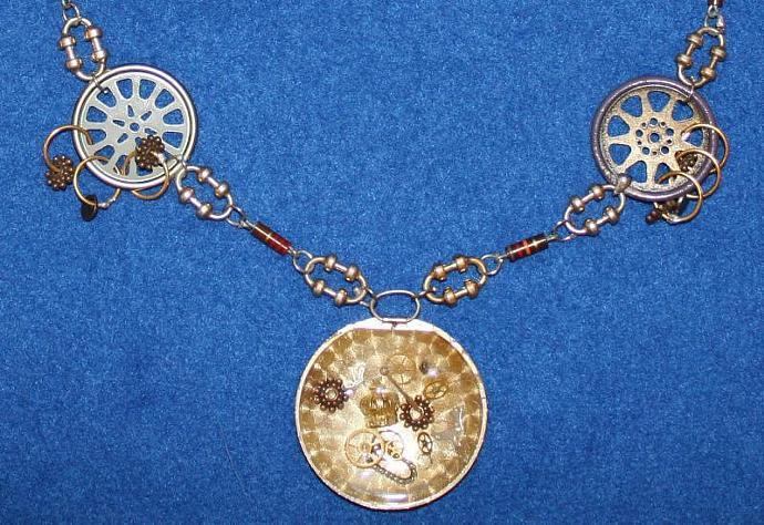 Train Motif on a Pocket Watch Cover & Resistors ~ Gold, Copper, Bronze Tones ~