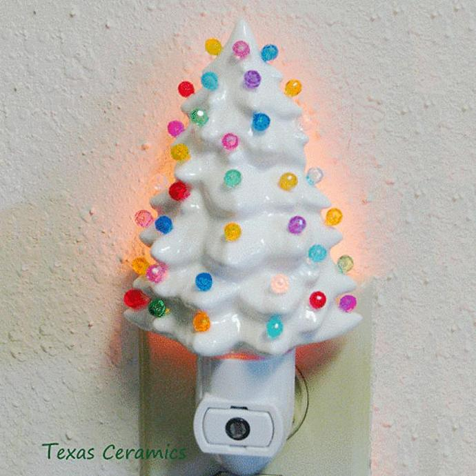 ceramic christmas tree night light in white with color lights with automatic - 75 White Christmas Tree