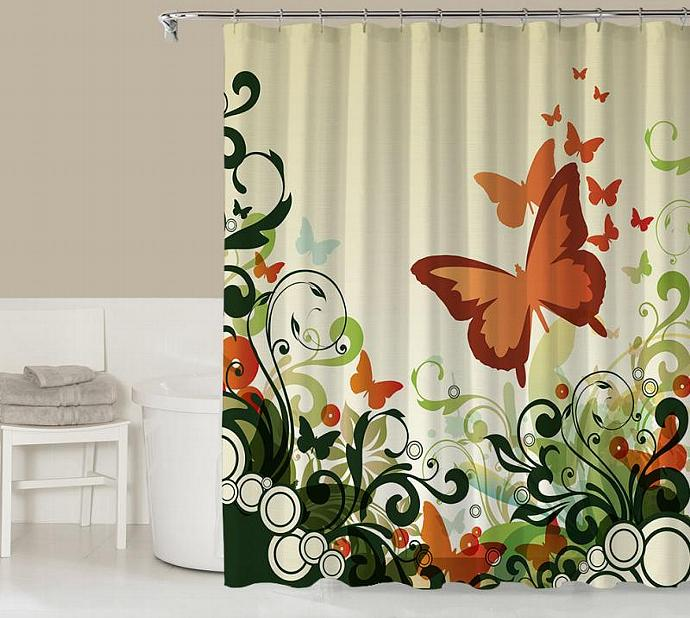 Floral Shower Curtain Contemporary Bathroom Decor Rust Orange Green And